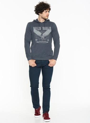 Mavi Kapüşonlu Sweatshirt Gri